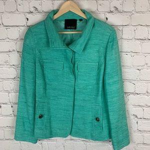 Carlisle Silk Tweed Teal Aqua Blazer Size 14